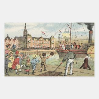 Adesivo Retangular Chegada do vintage holandês do St. Nick de