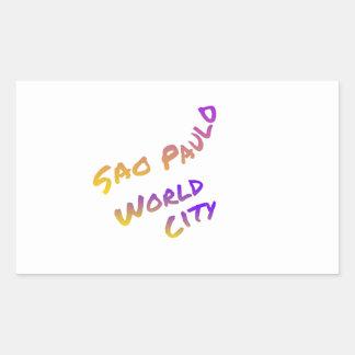Adesivo Retangular Cidade do mundo de Sao Paulo, arte colorida do