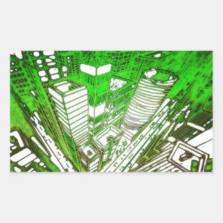 Adesivo Retangular city em 3 point version perspective special green