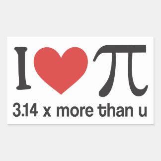 Adesivo Retangular Coração engraçado Pi de I - 3,14 x mais do que u
