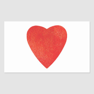 Adesivo Retangular Coração vermelho da aguarela