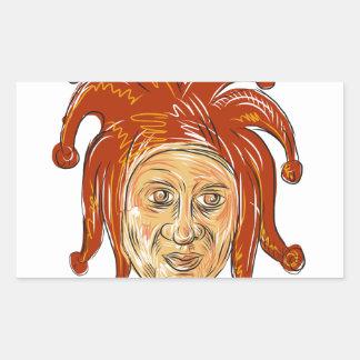 Adesivo Retangular Desenho da cabeça do bobo da corte da corte