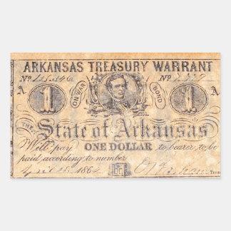 Adesivo Retangular Dinheiro confederado antigo de Arkansas