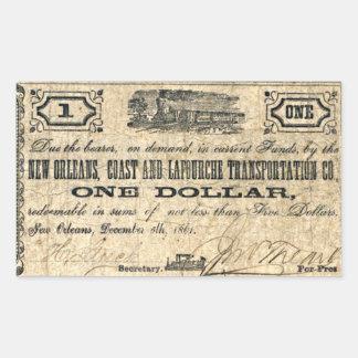 Adesivo Retangular Dinheiro do confederado da antiguidade da costa de