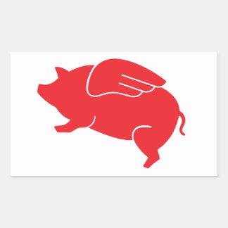 Adesivo Retangular 🐷 do porco do vôo