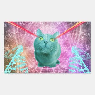 Adesivo Retangular Gato com olhos do laser