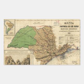 Adesivo Retangular Mapa de São Paulo, Brasil (1886)