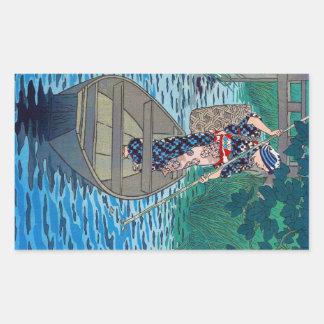 Adesivo Retangular Mulher japonesa oriental legal da pesca do barco
