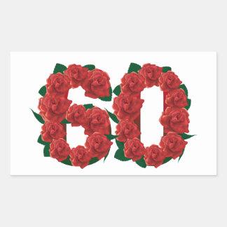 Adesivo Retangular Número 60 floral