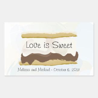 Adesivo Retangular O amor de S'mores é doce