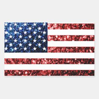 Adesivo Retangular Os EUA embandeiram brilhos dos sparkles do