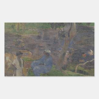 Adesivo Retangular Paul Gauguin - na costa do lago