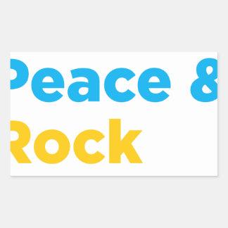 Adesivo Retangular Paz & amor & rock and roll