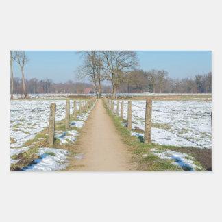 Adesivo Retangular Sandpath entre prados nevado no inverno holandês