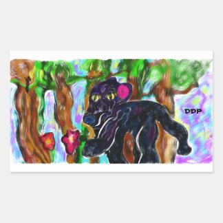 Adesivo Retangular selva bonita da pantera preta