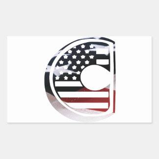 Adesivo Retangular Teste padrão da bandeira dos EUA da inicial do