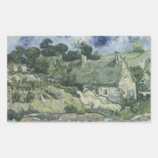 Adesivo Retangular Vincent van Gogh - casas de campo Thatched em