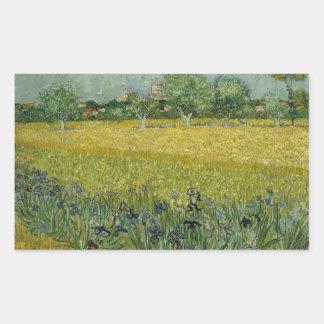 Adesivo Retangular Vincent van Gogh - o campo com flores aproxima