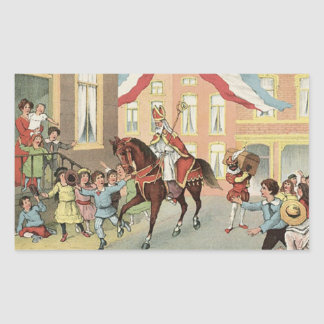 Adesivo Retangular Vintage holandês do St. Nick de Sinterklaas da