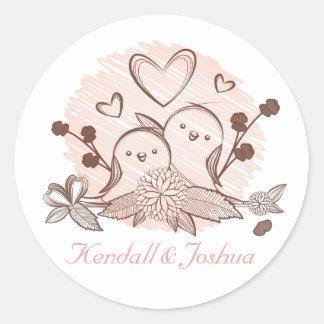 Adesivo Rosa dos Lovebirds e chá de panela Wedding de