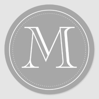 Adesivo Selo do envelope do monograma do carvão vegetal