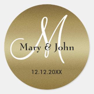 Adesivo Selos do monograma do casamento dourado