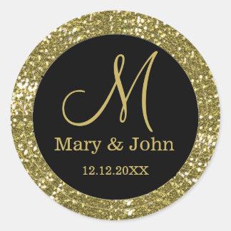 Adesivo Selos pretos e do brilho do ouro do casamento do