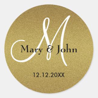 Adesivo Selos Shimmery do monograma do casamento do ouro