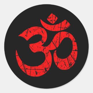 Adesivo Símbolo vermelho riscado do OM da ioga no preto