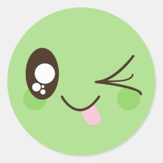 Adesivo Smiley face bonito de Kawaii do verde do Pistachio