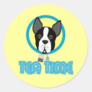 Adesivo Tea party de Boston Terrier