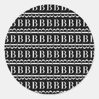 Adesivo Teste padrão inicial do monograma, letra B no