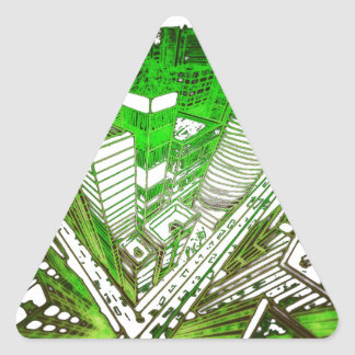 Adesivo Triangular city em 3 point version perspective special green