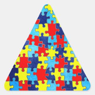 Adesivo Triangular Consciência-Quebra-cabeça do autismo por Shirley