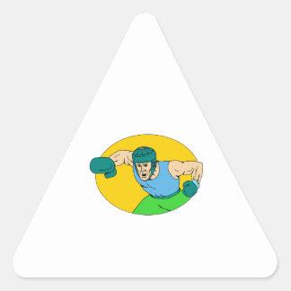 Adesivo Triangular Desenho amador do perfurador de KO do pugilista