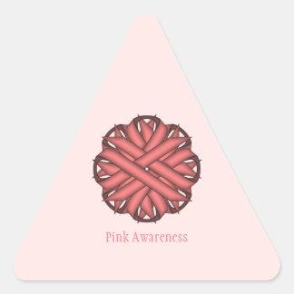 Adesivo Triangular Fita cor-de-rosa da flor