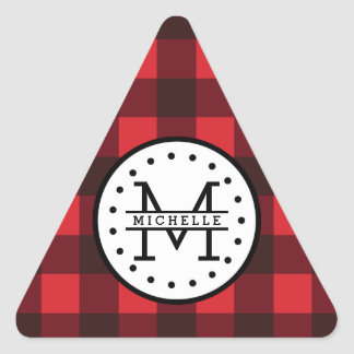 Adesivo Triangular Monograma vermelho do nome do lenhador da xadrez