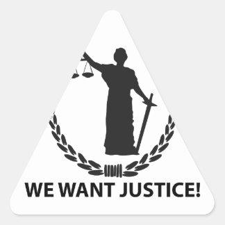 Adesivo Triangular Nós queremos justiça
