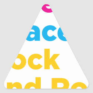 Adesivo Triangular Paz & amor & rock and roll