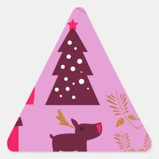 Adesivo Triangular Rosa do marshmallow do design do Xmas