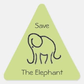 Adesivo Triangular Salvar os elefantes lineares do slogan feito sob