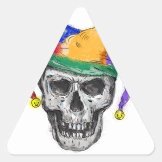 Adesivo Triangular Tatuagem de riso do crânio do bobo da corte