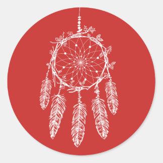 Adesivo Tribal vermelho do coletor do sonho de nativo