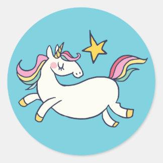 Adesivo Unicórnio bonito e estrelas do arco-íris do Doodle