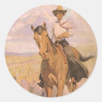 Adesivo Vaqueiro da vaqueira do vintage, mulher no cavalo