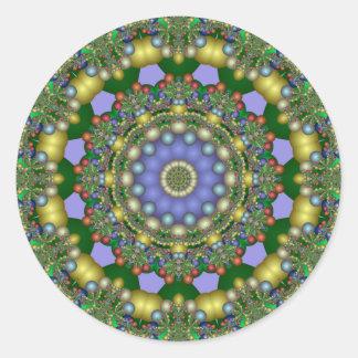Adesivo Verde do caleidoscópio do Fractal