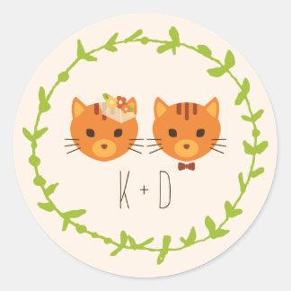 Adesivo Wedding (de creme) lunático dos gatos da floresta