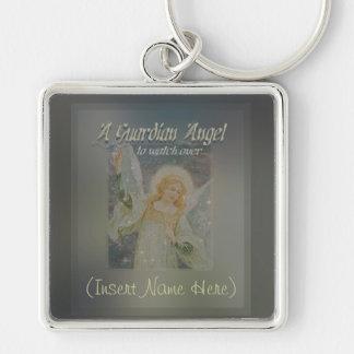 Adicione um anjo-da-guarda conhecido personalizam- chaveiro quadrado na cor prata