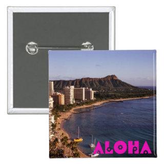 Adicione uma foto havaiana das férias bóton quadrado 5.08cm