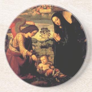 Adoração da criança do cristo com Mary e anjo Porta-copos De Arenito